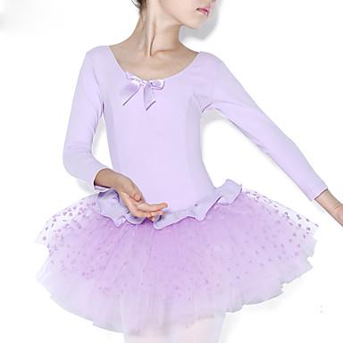 Ballet Kjoler Trening Bomull Drapert / Tvinning Langermet Naturlig Trikot / Heldraktskostymer