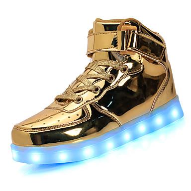 للجنسين أحذية جلد ربيع / صيف / خريف مريح / نعال خفيفة / أحذية مضيئة أحذية رياضية المشي كعب منخفض أمام الحذاء على شكل دائري دانتيل / LED