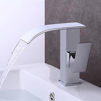 Baderom Sink Tappekran - Forskyll Foss Utbredt Krom Centersat Enkelt håndtak To Huller