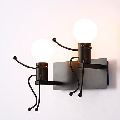 روبوت شكل خمر معدنية لوفت ريفي الجدار الشمعدان بار مقهى مدخل الجدار مصباح أسود أبيض اختياري