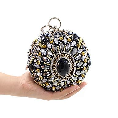 للمرأة أكياس البوليستر حقيبة مساء كريستال / حجم الراين طباعة زهور أسود