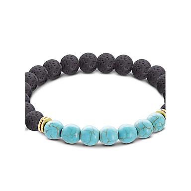 Lava Negra Contas Pulseiras Strand - Animal, Ancora Fashion, Yoga Pulseiras Marron / Vermelho / Azul Claro Para Esportes