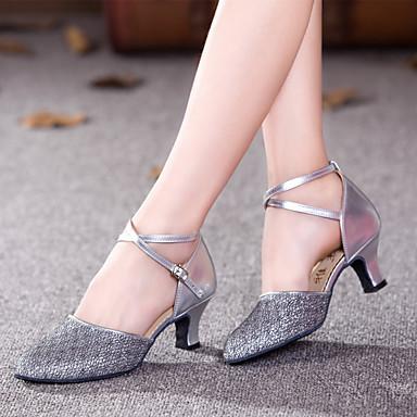 baratos Shall We® Sapatos de Dança-Mulheres Materiais Customizados Sapatos de Dança Moderna Salto Salto Personalizado Personalizável Dourado / Roxo / Cinzento Prateado / Interior