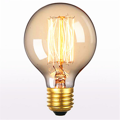 billige Elpærer-1pc 60 W E26 / E27 G80 Varm hvit 2300 k Kontor / Bedrift / Dekorativ Glødende Vintage Edison lyspære 220-240 V