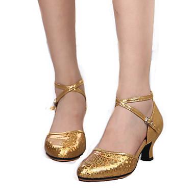 Mulheres Sapatos de Dança Moderna Couro Salto Salto Personalizado Personalizável Sapatos de Dança Dourado / Prata / Vermelho / Interior