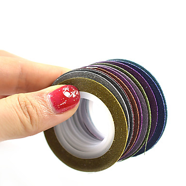1set 12rolls Folie Stripping Tape Nail Stamping Template Daglig Mote