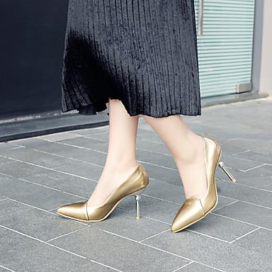 Argent Or pointu à Chaussures Aiguille Similicuir Talons Chaussures Eté 06575145 Femme Printemps Talon Confort Bout PpnHwOwq7F
