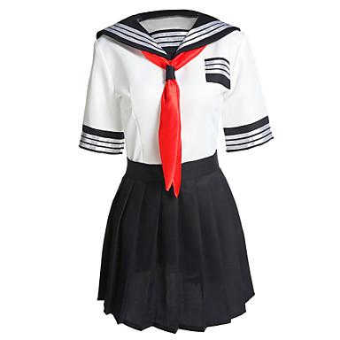 Etudiant / Uniforme d'écolier Costume de Cosplay Femme Halloween Carnaval Fête / Célébration Déguisement d'Halloween Bleu/blanc Mosaïque