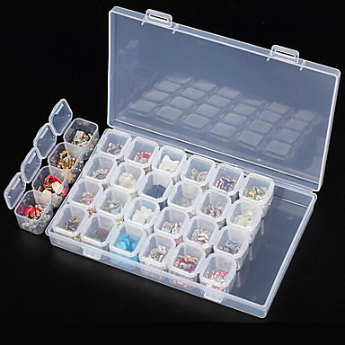 clear plastic 28 slots empty storage box nail art rhinestone tools jewelry  beads display storage box 6d4cbbb4013b
