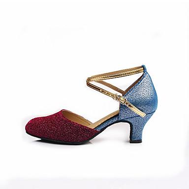 للمرأة أحذية عصرية بريّق كعب بريق مميز كعب مخصص مخصص أحذية الرقص ذهبي / أزرق / داخلي