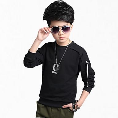 povoljno Majice za dječake-Djeca Dječaci Svečana odjeća Dnevno Jednobojni Dugih rukava Regularna Pamuk Trenirka s kapuljačom Crn