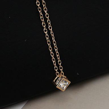 levne Módní náhrdelníky-Dámské Náhrdelníky s přívěšky dlouhý náhrdelník Módní Na každý den Štras Umělé diamanty Slitina Zlatá Stříbrná Náhrdelníky Šperky Pro Ležérní