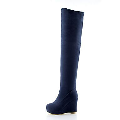 Dame Sko Fleece Vår Høst Trendy støvler Komfort Støvler Gange Kile Hæl Rund Tå til Bryllup Fest / aften Svart Rød Blå