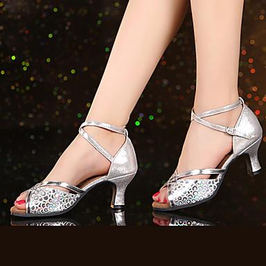 baratos Sapatos de Salsa-Mulheres Couro Sintético Sapatos de Dança Latina / Sapatos de Salsa Gliter com Brilho / Presilha / Fru-Fru Salto Salto Cubano Não Personalizável Dourado / Prateado / Nú / Interior / EU42