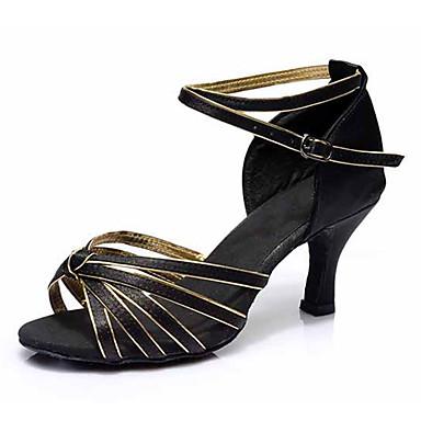 للمرأة أحذية رقص جلد صندل / كعب مشبك كعب كوبي مخصص أحذية الرقص أسود وذهبي / أزرق / حمر - أسود / أداء