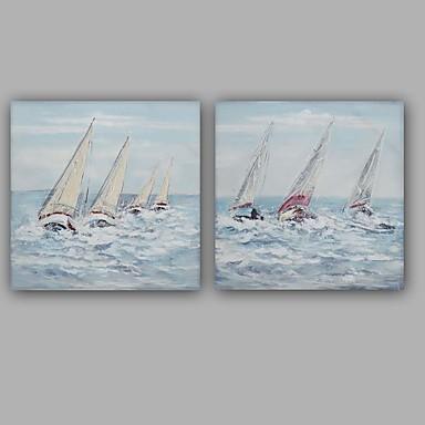 Pintura a Óleo Pintados à mão - Paisagem Clássico / Modern Tela de pintura