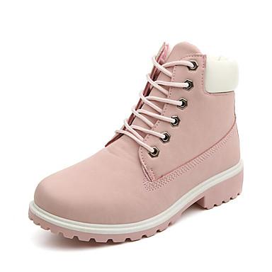 povoljno Ženske čizme-Žene Čizme Niska potpetica Okrugli Toe Vezanje PU Inovativne cipele / Modne čizme / Vojničke čizme Hodanje Jesen / Zima Zelen / Pink / Duga / EU41
