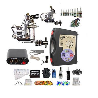 BaseKey Máquina de tatuagem Conjunto de Principiante - 2 pcs máquinas de tatuagem com 10 x 5 ml tintas de tatuagem, Profissional Fonte de