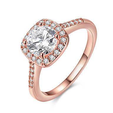 Χαμηλού Κόστους Μοδάτο Δαχτυλίδι-Γυναικεία Διαμάντι Cubic Zirconia Πασιέντζα Emerald Cut HALO Band Ring Ζιρκονίτης κυρίες Μοντέρνα Νυφικό Bling Bling Μοδάτο Δαχτυλίδι Κοσμήματα Χρυσό / Ασημί / Χρυσό Τριανταφυλλί Για