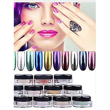 1pc Glimmer Nail Art Forms Matt / Glans / Glitter Solid farget Neglekunst Manikyr pedikyr Glimmer Fritid / hverdag Fest & Aften / Forretning / Seremoni / Bryllup / Daglig