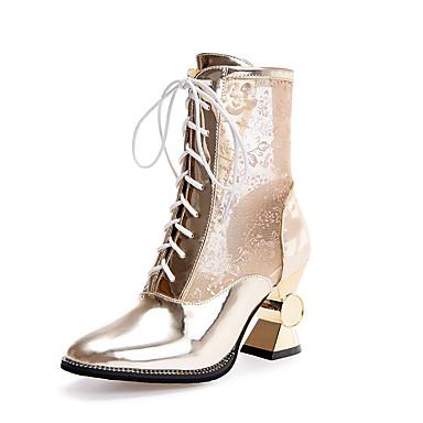 Dame Sko PU Tyll Høst Club Sko Trendy støvler Gladiator Komfort Støvler Gange Spolehæl Rund Tå Snøring til Bryllup Fest / aften Gull Hvit