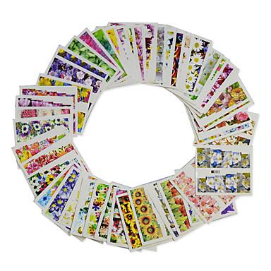 48pcs/set Vannoverføringsklistre / Nail Sticker Blomst / Nail Decals Nail Art Design Glatt klistremerke / Stilig Design Fest / Daglig / Øvelse