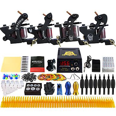 Solong Tattoo מכונת קעקוע ערכת קעקוע מקצועי - 4 pcs מכונה קעקוע, מקצועי LCD ספק כוח No case 4 x מכונת קעקועים לתיחום והצללה סגסוגת
