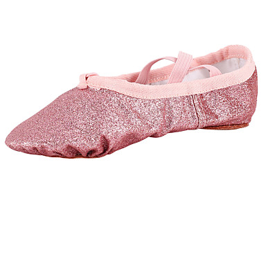 Crianças Balé Tecido Sapatilha Interior Sem Salto Dourado Rosa claro Não Personalizável
