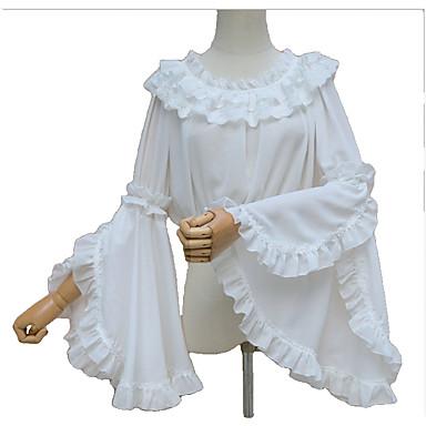 Søt Lolita Prinsesse Dame Bluse/Skjorte Cosplay Hvit Svart Beige Dikter Langermet Lolita