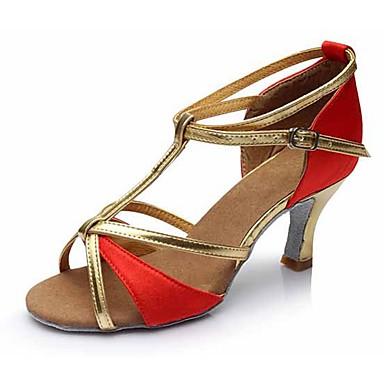 Mulheres Sapatos de Dança Latina Courino Sandália / Salto Presilha Salto Cubano Personalizável Sapatos de Dança Dourado / Marron /