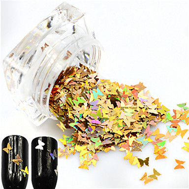 1 bottle Jóias de unha / Paetês Brilho & Glitter / Nail Glitter Espumante / Borboleta Festa / Diário / Encontro