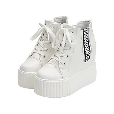 للمرأة أحذية PU ربيع / صيف مريح أحذية رياضية منصة أمام الحذاء على شكل دائري دانتيل أبيض / أسود