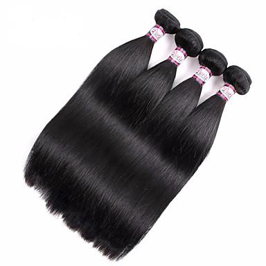baratos Extensões de Cabelo Natural-4 pacotes Cabelo Brasileiro Liso 360 Frontal 10A Cabelo Virgem Cabelo Humano Ondulado Tramas de cabelo humano Extensões de cabelo humano / Reto