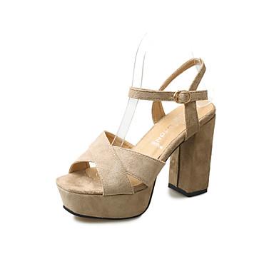저렴한 여성 샌달-여성용 샌들 크로스 스트랩 샌들 청키 굽 발가락 슈즈 버클 PU 클럽 신발 봄 / 여름 블랙 / 핑크 / 카키 / 파티 / 이브닝 / 파티 / 이브닝