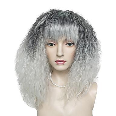 Perucas sintéticas Kinky Curly Com Franjas Cabelo Sintético Preta Peruca Mulheres Longo Sem Touca Preto / Branco