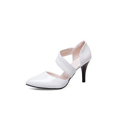 Mulheres Sapatos Courino Primavera / Verão Saltos Caminhada Salto Agulha Dedo Apontado Presilha Branco / Preto / Vermelho
