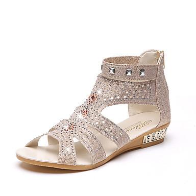 baratos Sandálias Femininas-Mulheres Crystal Sandals Couro Ecológico Primavera Conforto Sandálias Salto Baixo Dourado / Preto / Bege