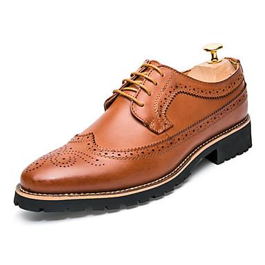 Homens sapatos Couro Ecológico Primavera / Outono Conforto Tênis Preto / Marron / Bullock Shoes