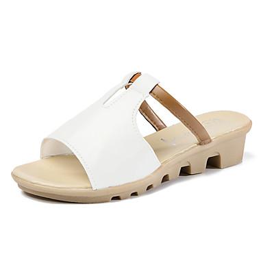 Mulheres Sapatos Courino Verão Outono Conforto Sandálias Sem Salto Dedo Aberto para Atlético Casual Ao ar livre Branco Preto Bege Azul