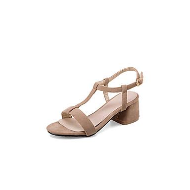 Mujer Zapatos Semicuero Primavera / Verano Confort Sandalias Paseo Tacón Cuadrado / Talón de bloque Puntera abierta Con Cordón Negro / k8KZubvE