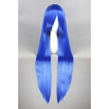 Perucas sintéticas / Perucas de Fantasia Liso Cabelo Sintético Azul Peruca Mulheres Longo Sem Touca