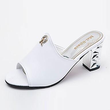 Women's Shoes PU(Polyurethane) Spring / Slippers Summer Comfort Sandals / Slippers / & Flip-Flops Chunky Heel / Block Heel Open Toe White / Black 59887d