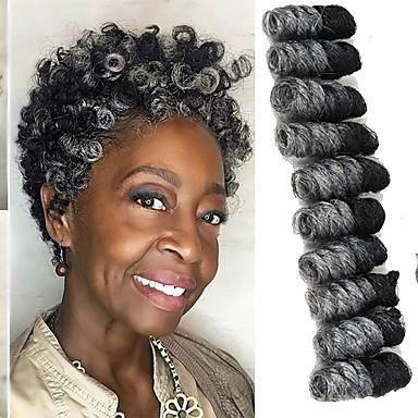 levne Hair Extensions-Copánkové vlasy Bouncy Curl / Saniya Curl Twist prýmky / Pre-loop háčkování prýmky Umělé vlasy / 100% kanekalon vlasy / Kanekalon 20 kořenů / balení vlasy copánky Tónované 10 inch Krátký Večírek