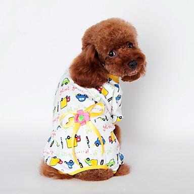 Kissa Koira T-paita Yöpuvut Koiran vaatteet Piirretty Keltainen Sininen Pinkki Puuvilla Asu Lemmikit Miesten Naisten Sievä Rento/arki