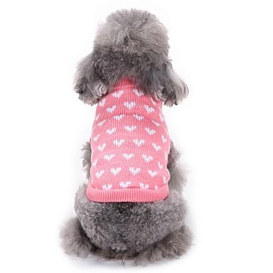قط كلب البلوزات ملابس الكلاب قلب زهري الاكريليك وألياف كوستيوم للحيوانات الأليفة للرجال للمرأة كاجوال/يومي موضة