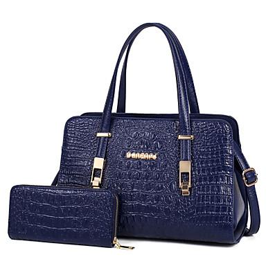 Mulheres Bolsas PU Conjuntos de saco 2 Pcs Purse Set Sólido Azul / Preto / Vermelho