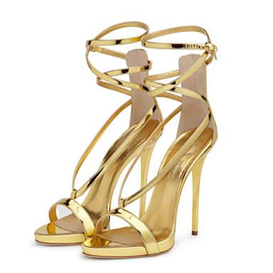 Mulheres Sapatos Couro Ecológico Primavera / Verão Conforto / Inovador Sandálias Caminhada Salto Agulha Dedo Aberto Presilha Dourado /