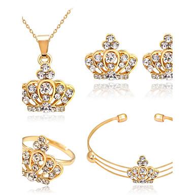 Mulheres Cristal Conjunto de jóias - Strass Coroa Básico Incluir Dourado Para Presentes de Natal Casamento Festa / Anéis