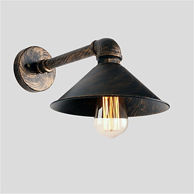 vintage industrielle rør vegg lys metall skygge restaurant cafe bar vegg sconces 1-lys malt finish