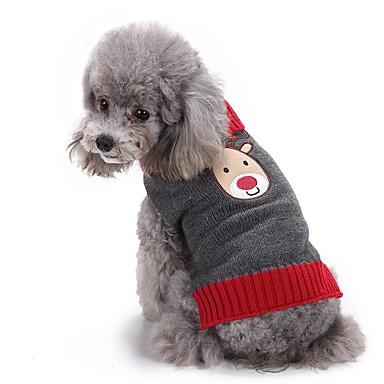 Gato Cachorro Súeters Natal Roupas para Cães Rena Cinzento Fibras Acrilicas Ocasiões Especiais Para animais de estimação Homens Mulheres